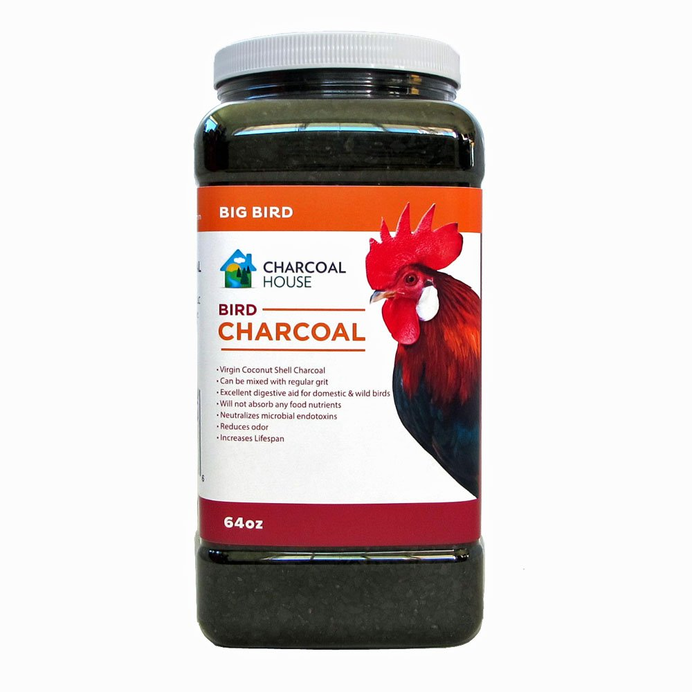 4lbs Granular Bird Charcoal For Large Birds & Poultry, Coops, Cages & as a feed supplement, Digestion, Scratch, For chickens, pigeons, parrots, turkeys, more by Charcoal House