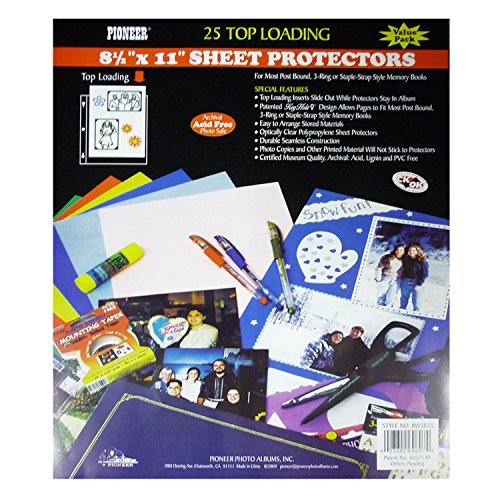 Pioneer Photo Albums RW-SB25 Bulk Sheet Protectors for 8.5 x 11 Pages (Pack of 25) ()