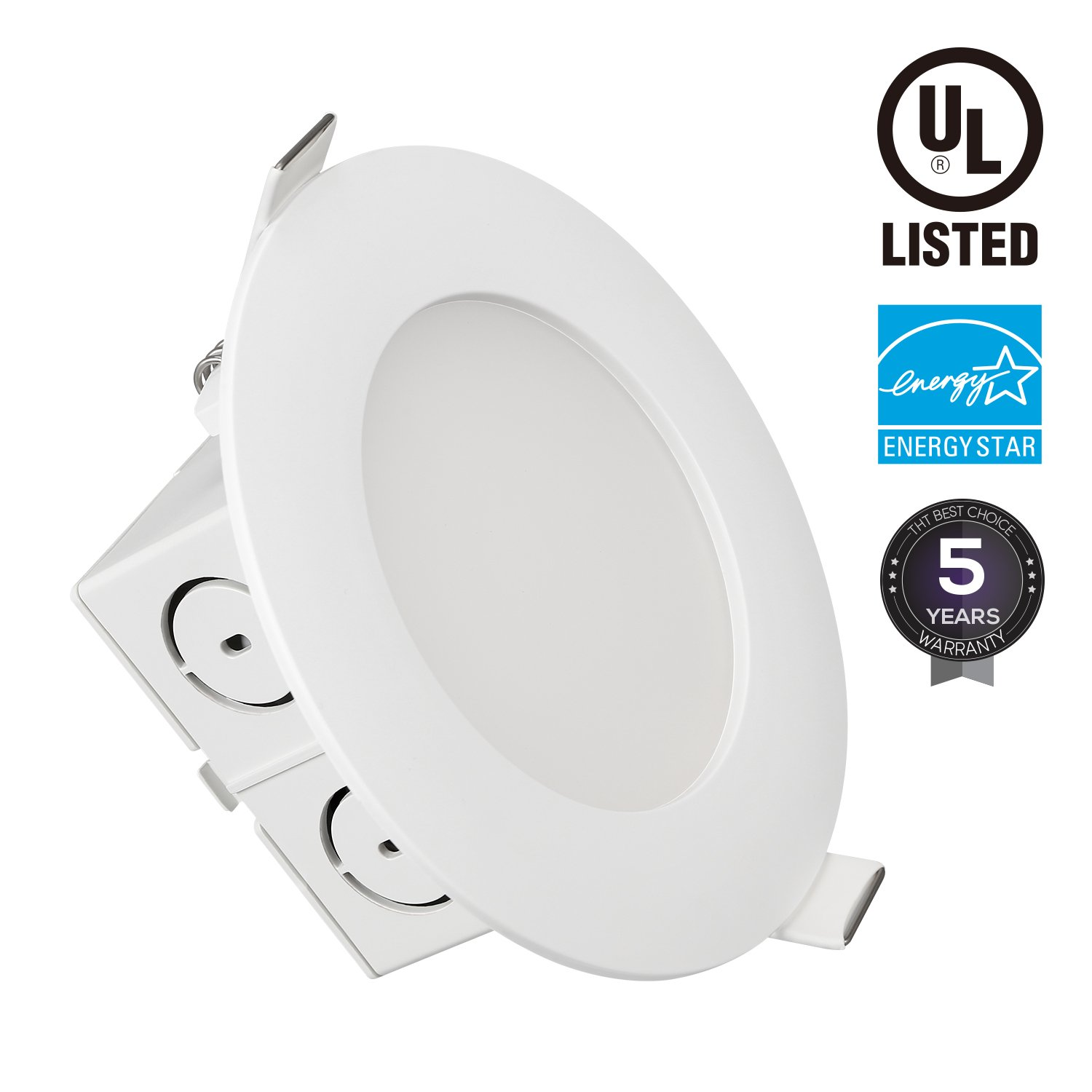 TORCHSTAR 9W 4 inch Slim Recessed Ceiling Light with Junction Box, Dimmable Airtight Downlight, 65W Equivalent, UL & Energy Star Certified, 650lm, 3000K Warm White