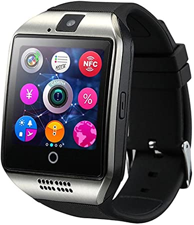 Q18 Smart Watch, Touch Screen Orologio da Polso con Telecamera SIMTF Card Slot, Sport Fitness Tracker Smartwatch per iOS Smartphone Android