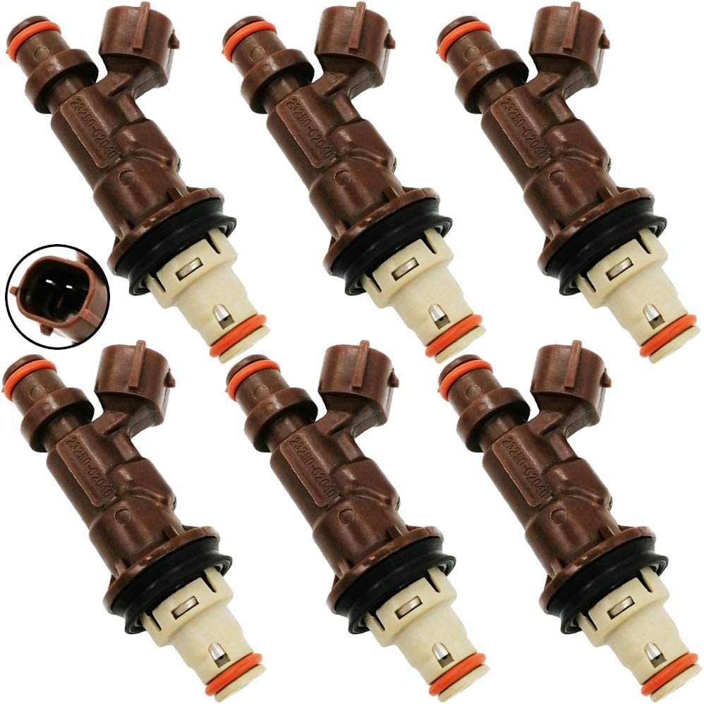 Fuel Injectors 6pcs//Set Replacement Fuel Injectors Engine Part Fit for 1999-2004 Toyota 4Runner Tacoma Tundra 3.4L V6 Brown Replaces 23250-62040 23209-62040