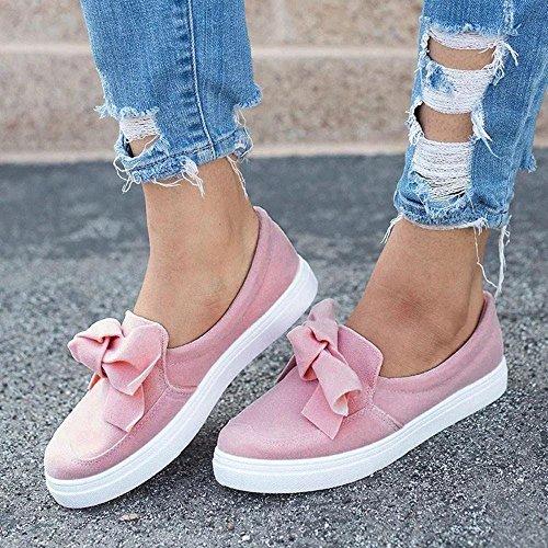 Otoño para Moda de de Espadrilles Senderismo Rosa Casual Dama Deporte Mujer Trabajo Planos Vestir Terciopelo Zapatillas de Calzado Escolares Zapatos Cómodos PAOLIAN Calzado qTIEgTw