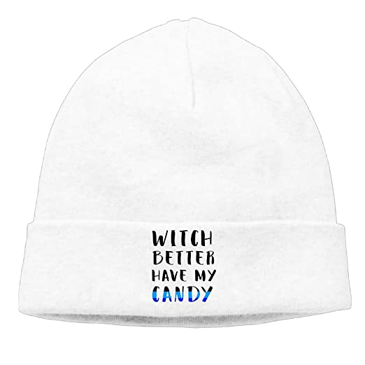 f9fd2854783 Amazon.com  WPER WANG Witch Better Have My Candy New Winter Hats Knitted  Twist Cap Thick Beanie Hat White  Clothing