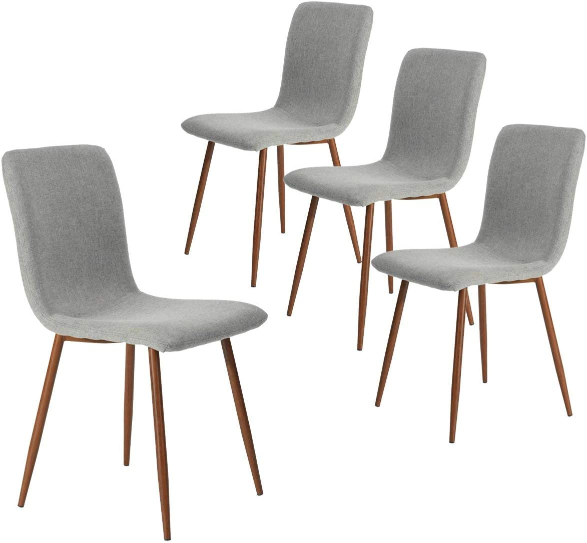 blu Set di 4 sedie da pranzo da cucina Montare facilmente cuscino moderno in tessuto Sedia sedile Gambe in metallo Cuscino in tessuto Sedie laterali con robuste gambe in metallo per la cucina