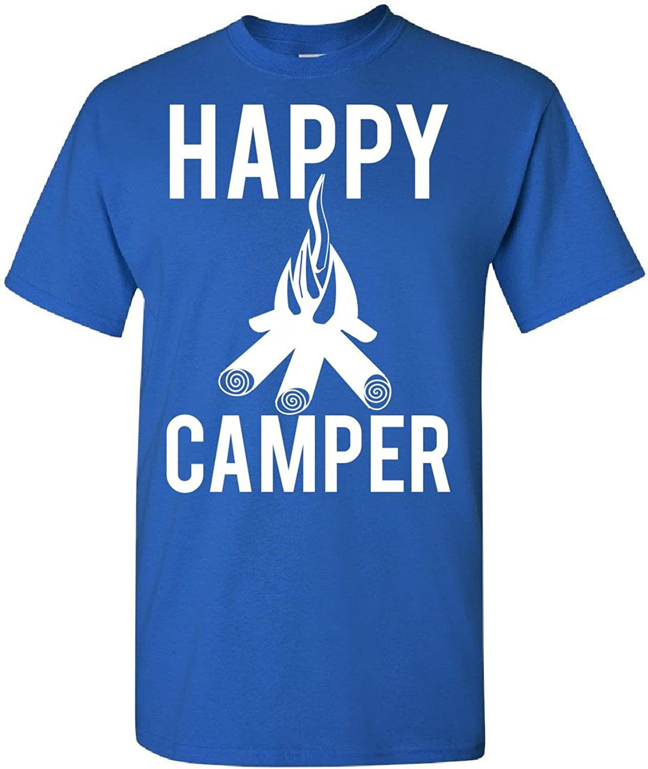 Kids T Shirt L Royal Happy Camper Campfire Outdoor Campground Hiking and Fun