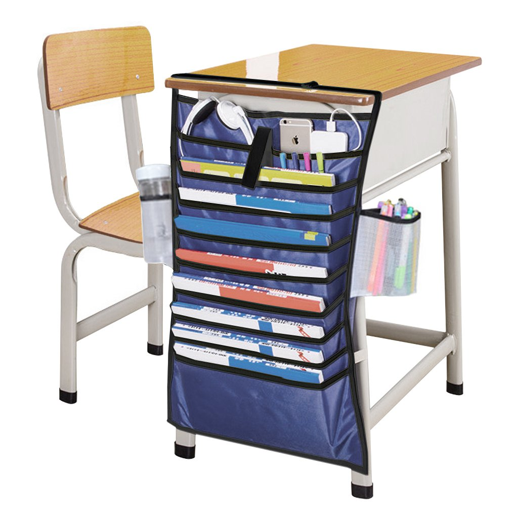 Amazon.com : FakeFace Heavy Duty Home Office School Desk Table Hanging File  Book Newspaper Magazine Tidy Organizer Rack Pockets Students Textbooks Pens  ...