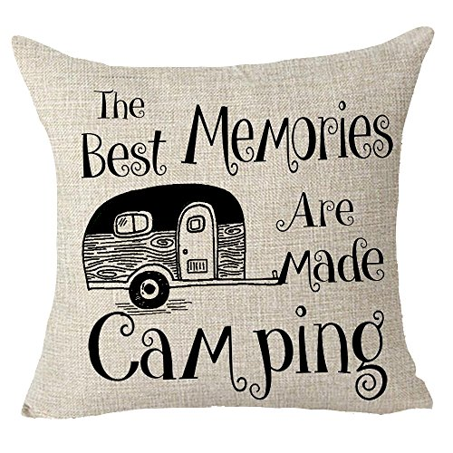 """FELENIW The Best Memories are Made Camping Throw Pillow Cover Cushion Case Cotton Linen Material Decorative 18″ x 18"""" inches"""