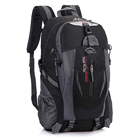 0f0cee6c8a IKHBF 40L Waterproof Durable Outdoor Climbing Backpack Women Men Hiking  Athletic Sport Travel Backpack Rucksack Black