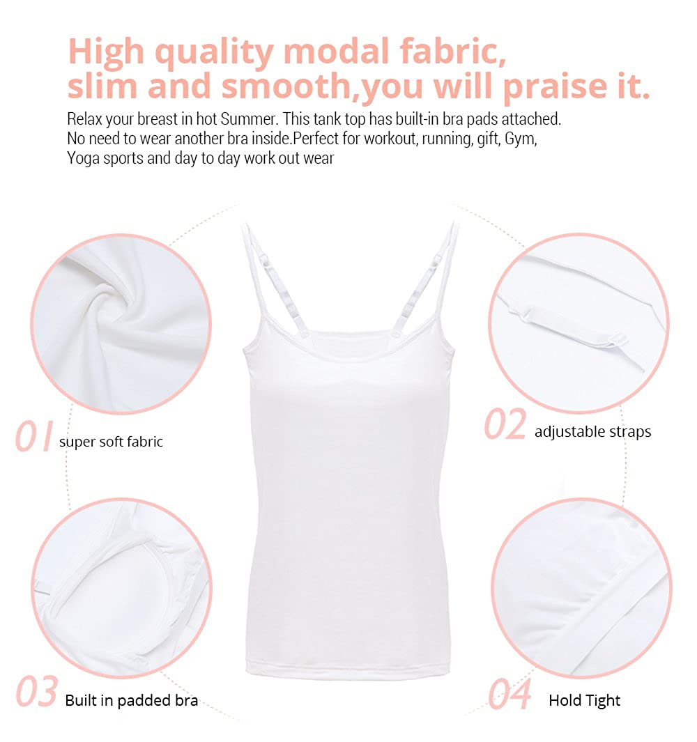 32bdcd8b3abc5 HBY Womens Camisole Built in Shelf Padded Bra Cami Bra Adjustable Straps  Tank Top Solid Color