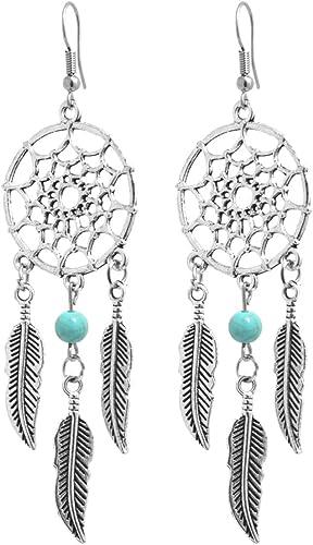 Böhmische Frau Türkis Quaste Ohrringe Schmuck Geschenk Antik Silber
