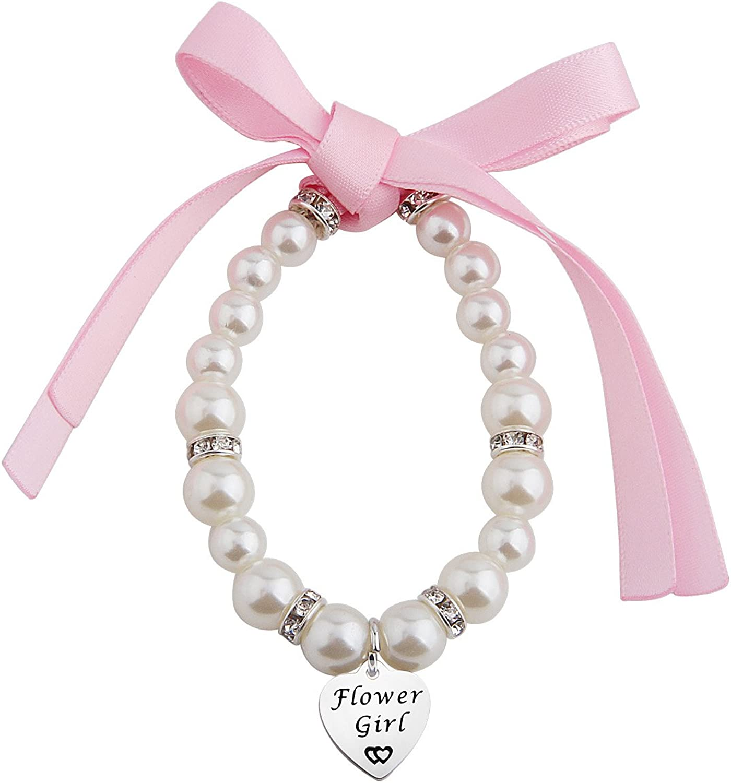 Flower Girl Pearl Bracelet Wedding Jewelry Bridesmaid Jewelry Blush Pink Jewelry Set, Junior Bridesmaid Jewelry Flower Girl Jewelry