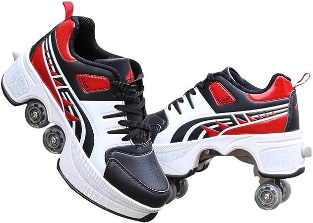 MAISDO Kick Roller Zapatos,Zapatos De Patinaje sobre Ruedas Kick Rollers con Ruedas para Adultos Zapatillas De Polea Invisible Zapatos De Patinaje sobre Ruedas Deformables De Doble Fila,43: Amazon.es: Hogar