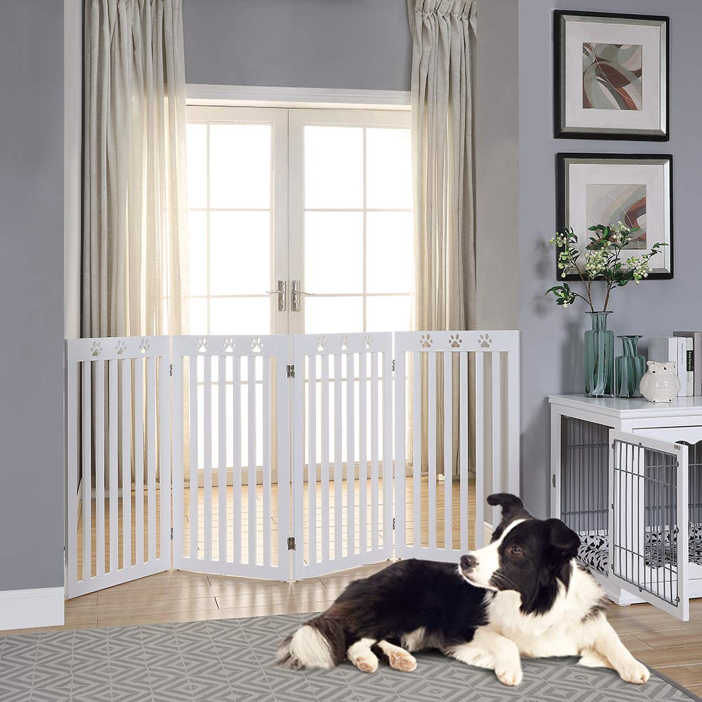 unipaws Freestanding Paw Deco Pet Gate, Foldable Assembly-Free Wooden Dog Gate, Step Over Fence Puppy Gate for Doorway, Stairs,White (20'' Wx36 H,4 Panels) by unipaws (Image #3)
