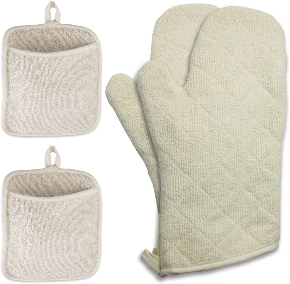 Pot Holders and Oven Mitts, Oven Mitt is Heat Resistant 600 Degrees – 100% Cotton with Silicone Lining, Hot Pads with Pocket Made from Terrycloth, Safe for Baking, Cooking, BBQ, (White) 4 Piece Set.