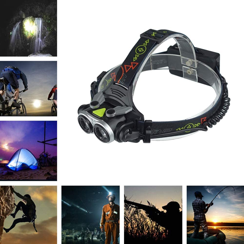 elegantstunning 2xT6 Helle Scheinwerfer Camping Lampe Teleskop Fokussierung Funktion f/ür Nacht Angeln Outdoor Aktivit/äten