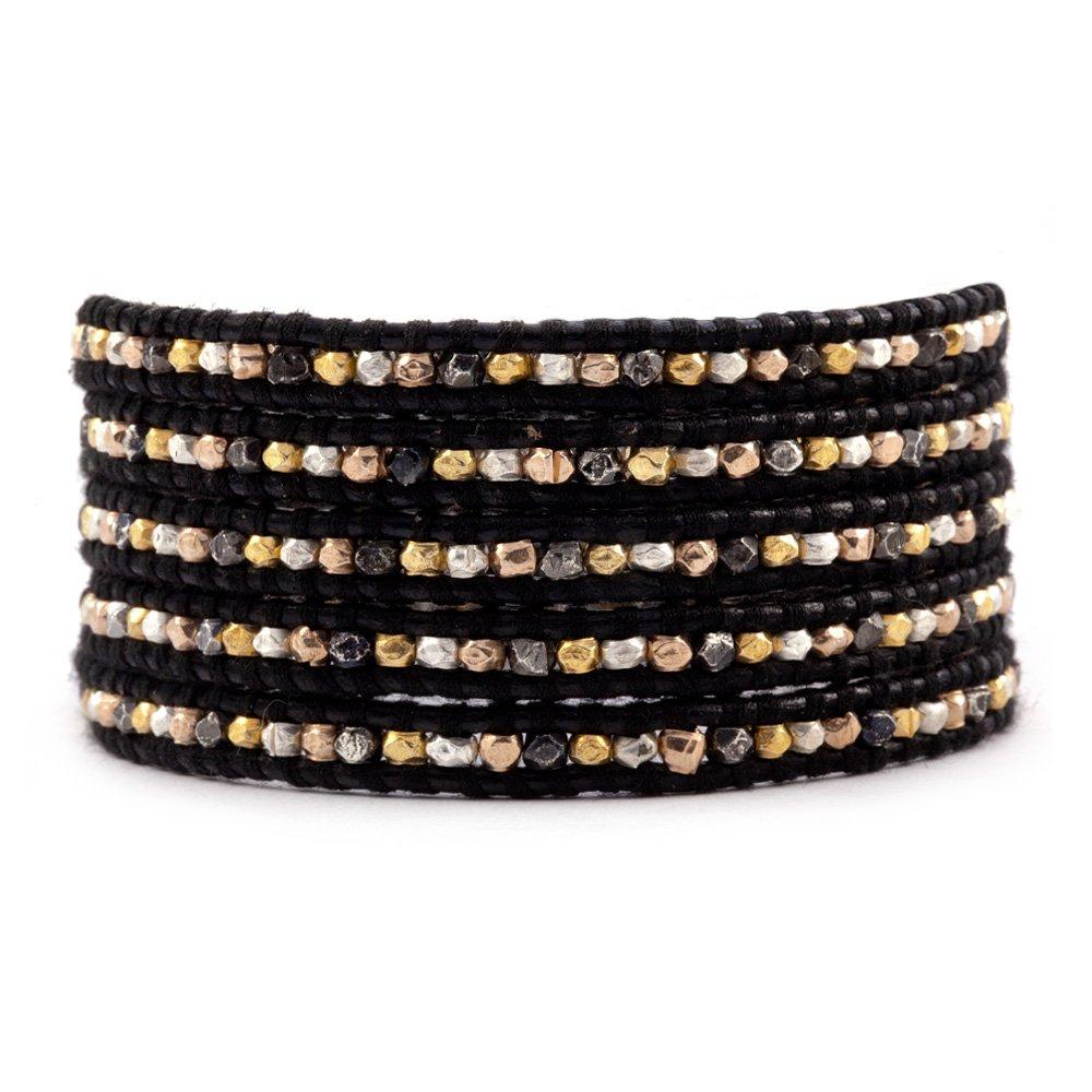 Chan Luu Multi Nugget Wrap Bracelet on Black Leather
