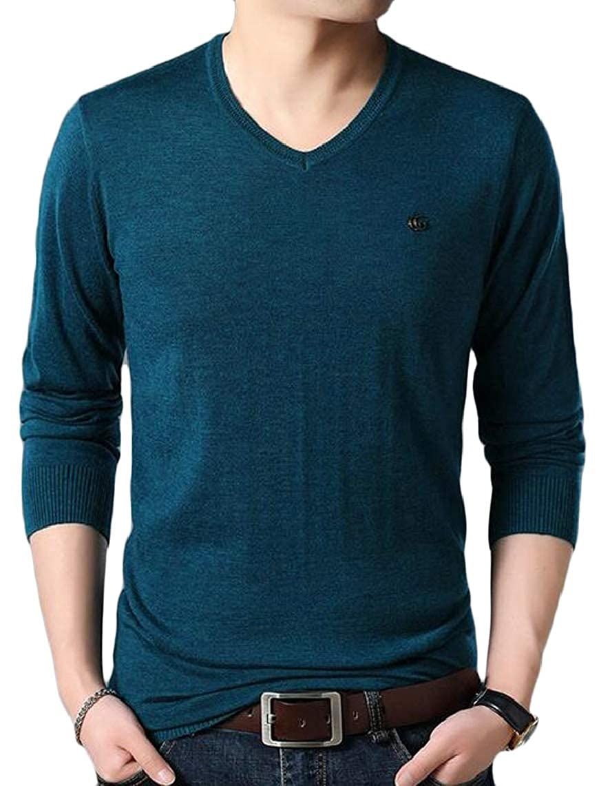 Yayu Men/'s Knitting Sweater Loose Fit Long Sleeve V-Neck Pullover
