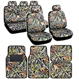 mossy oak seat cover sets - Camo Gray Forest Seat Cover & Floor Mat Set - Front Rear Headrests - 4 Floor Mats - Steering Wheel Cover & Seat Belt Pads in Surreal Camouflage + FREE BONUS MITT
