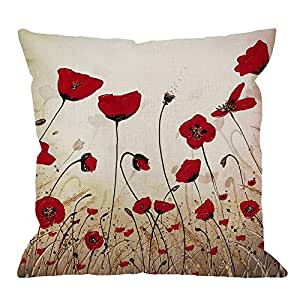 HGOD DESIGNS Beautiful Flower Poppy Pillow Case,Red Flower Cotton Linen Cushion Cover Square Standard Home Decorative for Men/Women 18x18 inch Red ...