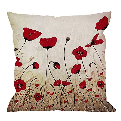 (HGOD DESIGNS Beautiful Flower Poppy Pillow Case,Red Flower Cotton Linen Cushion Cover Square Standard Home Decorative for Men/Women 18x18 inch Red Brown)