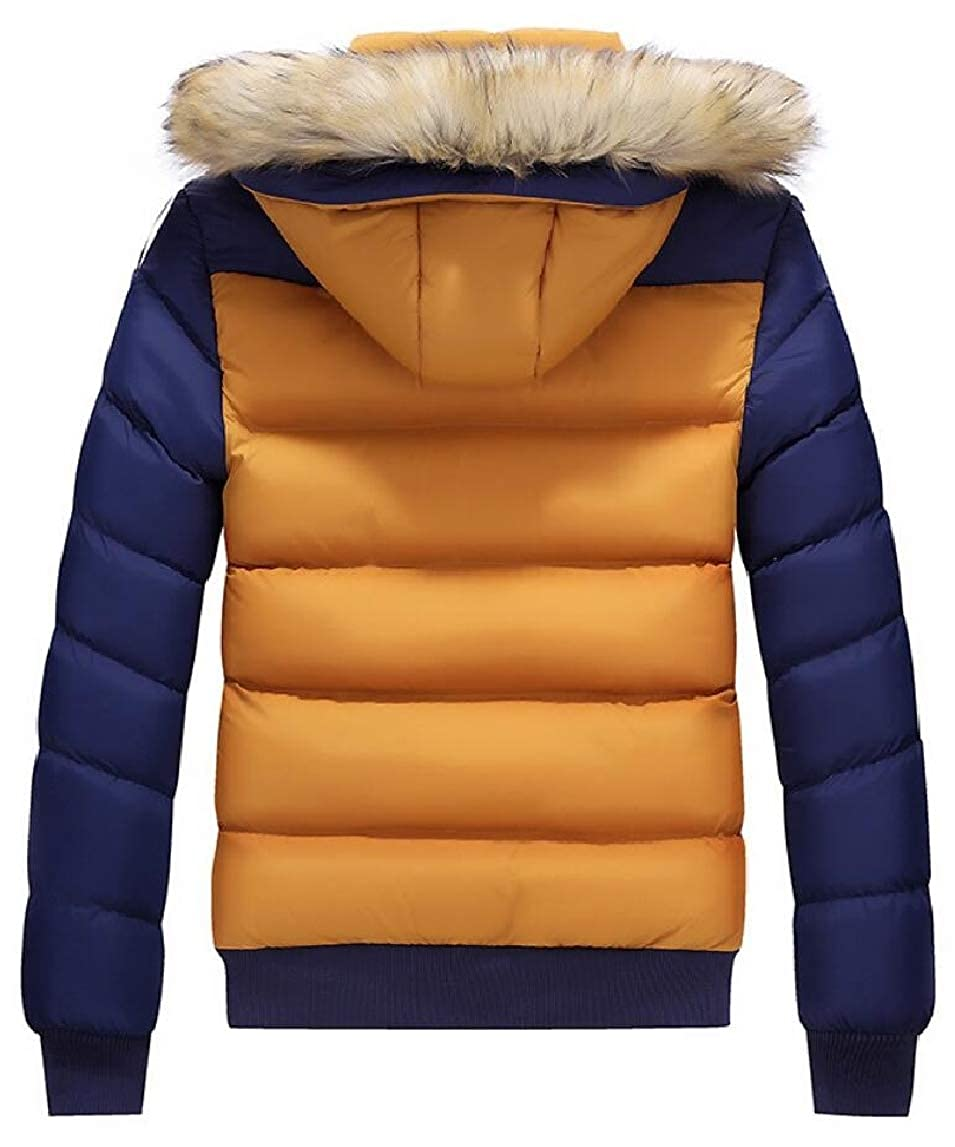 HTOOHTOOH Mens Thicken Front-Zip Color Stitching Quilted Warm Winter Down Jacket Coat