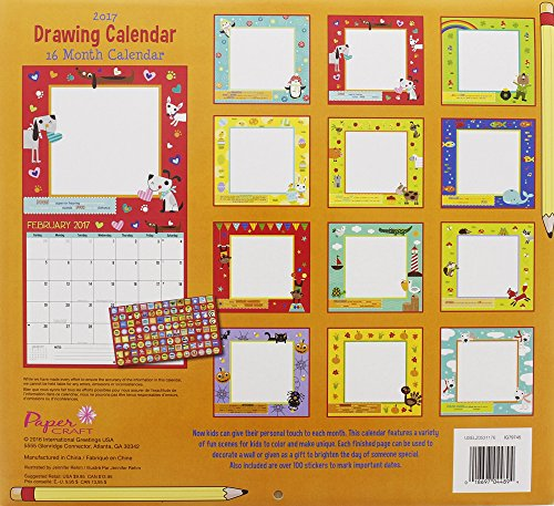 Calendar Drawing For Kids : Monthly wall calendar drawing kids children boys