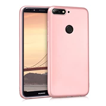 scarpe sportive fd113 3fcf9 kwmobile TPU Silicone Case for Huawei Y7 (2018)/Y7 Prime (2018) - Soft  Flexible Shock Absorbent Protective Phone Cover - Metallic Rose Gold