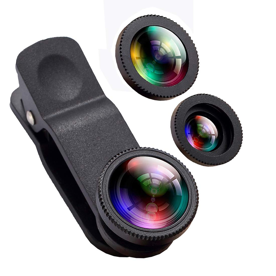 Phone Camera Lens, Oande 3 in 1 Fisheye Lens & 10X Macro Lens &0.65X Wide Angle Lens, Cell Phone Lens HD Camera Lens Kits Compatible iPhone 8/7/6s Plus/6s/5s Other Devices O&E-01-0026