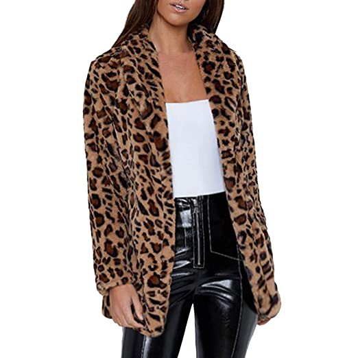 1f51272065a6 Fiaya Women s Winter Leopard Printed Faux Fur Long Sleeve Fluffy Soft  Cardigan Jacket Overcoat Coat (