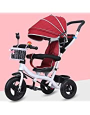 Fashion with Sunshade Carbon Steel Material Children's Tricycle, Large Storage Folding Foot Pedals Baby Stroller, Detachable Height Adjustable Push Handle Child Pedal Trike Bike Bicycle
