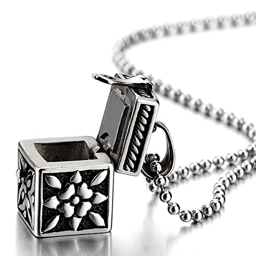 Mens womens steel vintage filigree pill box memorial holder stash mens womens steel vintage filigree pill box memorial holder stash locket pendant necklace aloadofball Choice Image