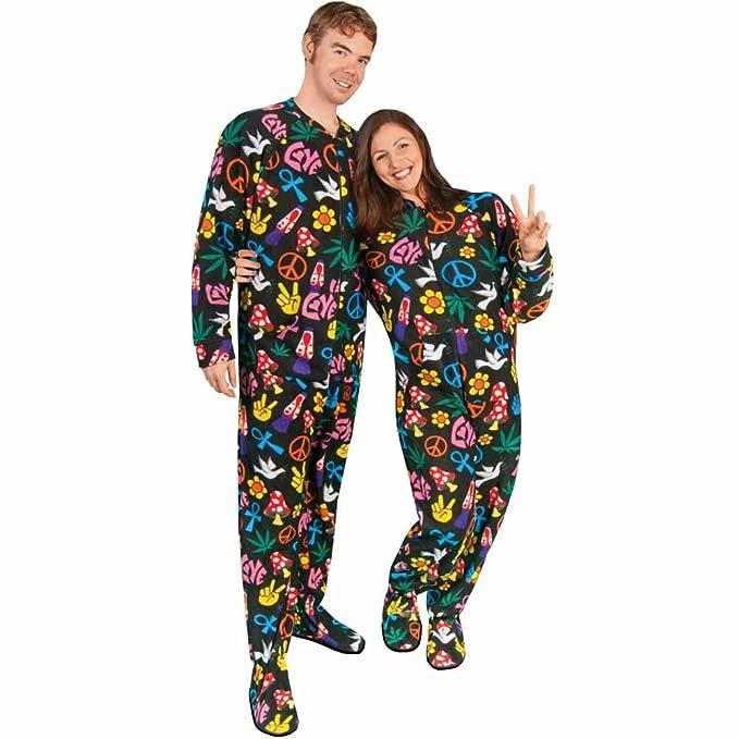 Adult Footed Pajamas Drop Seat Peace Sign Fleece ae1666b7f