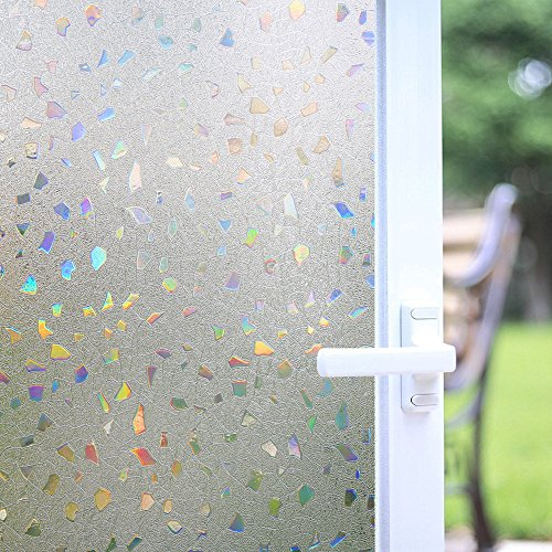 Bloss 3D Static Cling Window Film Stained Glass Window Film Decorative Frosted Window Clings Vinyl Window Covering 17.7Inch x 78.7Inch 1 (Roman Marble Mosaic)
