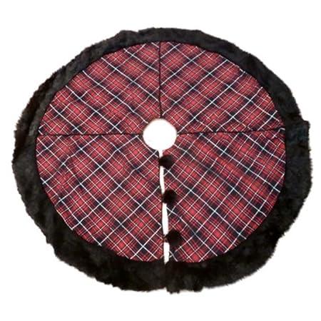 d23ad065a Target Silver Red & Black Tartan Plaid Christmas Tree Skirt Fur Xmas Holiday:  Amazon.co.uk: Kitchen & Home