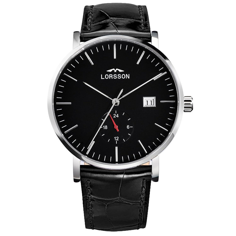 lorssonメンズ自動機械腕時計ブラックダイヤルアナログディスプレイと成牛革ストラップlc5518l1 a B01GL2E772