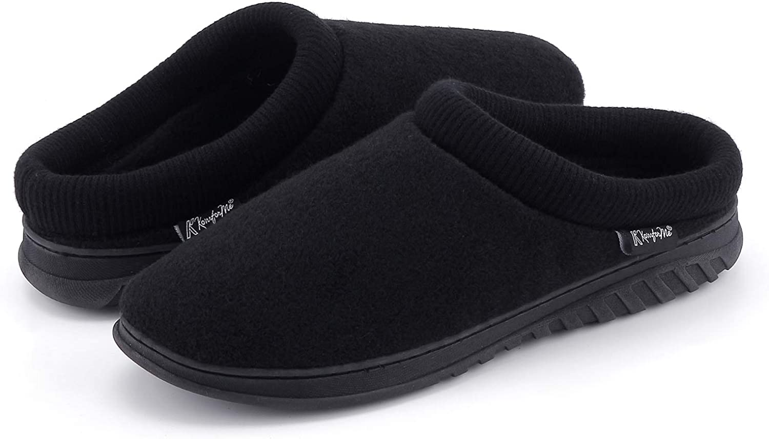 K KomForme Slippers for Men Cotton Memory Foam Slip on Indoor and Outdoor Winter House Shoes