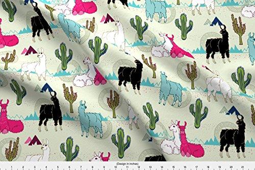 Llamas Fabric Llama Llama by Mhdesign Printed on Fleece Fabric by the Yard by Spoonflower (Curly Fabric Fleece)