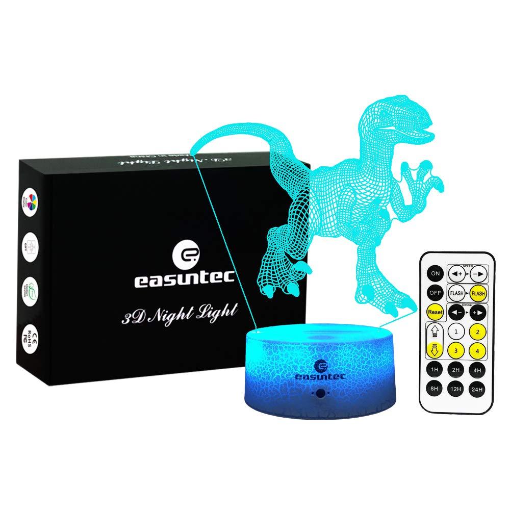 easuntec Boys Night Lights Dinosaur Night Light 7 Colors Change with Timer Remote Gift idea Gifts for Boys(Velociraptor1)