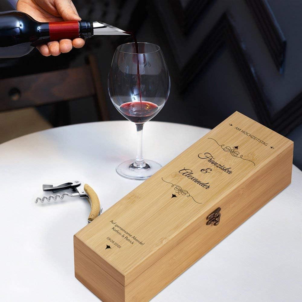 4er Weinzubeh/ör Geschenk zur Hochzeit Auf gemeinsame Abende Weinset aus Bambus Braun 36x11x11,5cm Murrano Wein Geschenkbox f/ür 0,7L Weinflasche Aufdruck