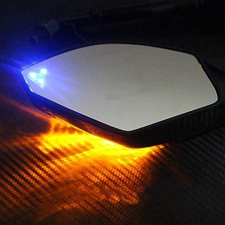 Double Marqueur Lat/éRal de Clignotant Une LED pour Ninja YZF Noir VANOLU R/éTroviseurs Universels de Moto