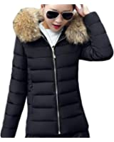 Fulok Womens Faux Fur Hooded Quilted Cotton Down Coat Puffer Jacket Parka