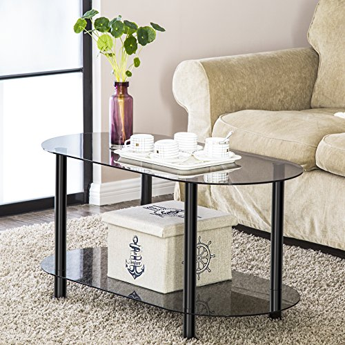 Price comparison product image FITUEYES Grey Glass End Table Accent Side Table Coffee Table Cocktail Table CT210001GT