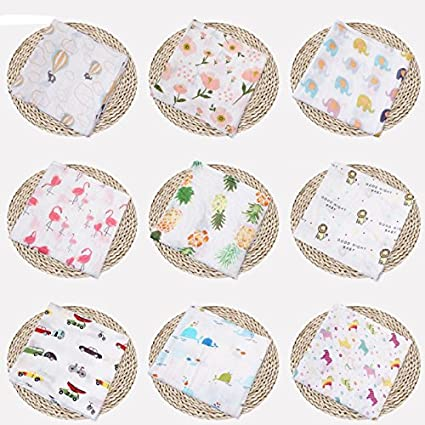 Towel Mat Burping Cloths /& Stroller Cover Air Conditioning Blanket for Baby Girl Boy Minuya Baby Muslin Swaddle Blanket -Cotton Baby Swaddle Wrap