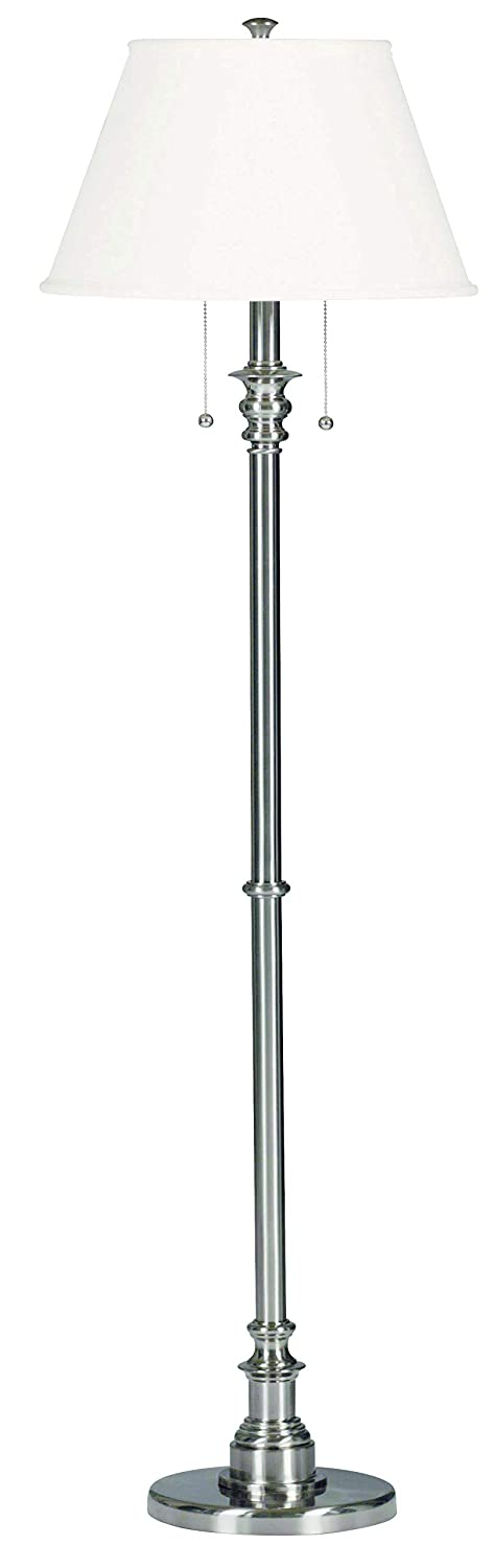Kenroy Home Modern Brushed Steel Floor Lamp, Dual On/Off Pull Chains, 60 Inch Height, White Natural Linen Shade