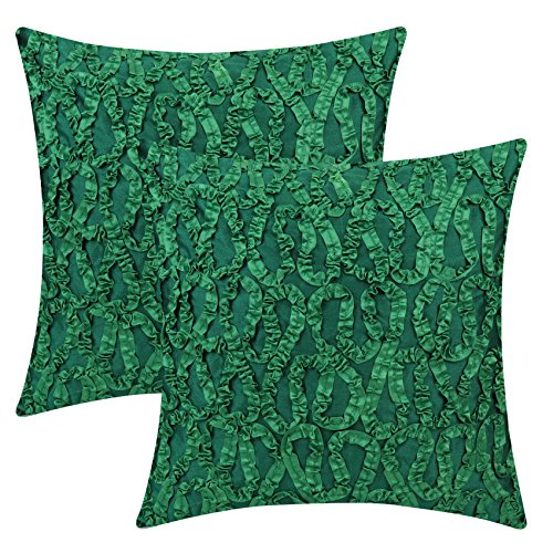 (The White Petals Emerald Green Euro Sham Covers (Ribbon Work, 26x26 inch, Pack of 2))