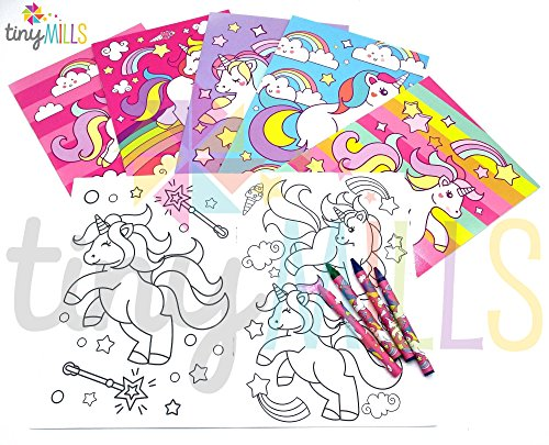 Party Favor Crayon Set (Unicorn Coloring Books with Crayons Party Favors, Set of 12)