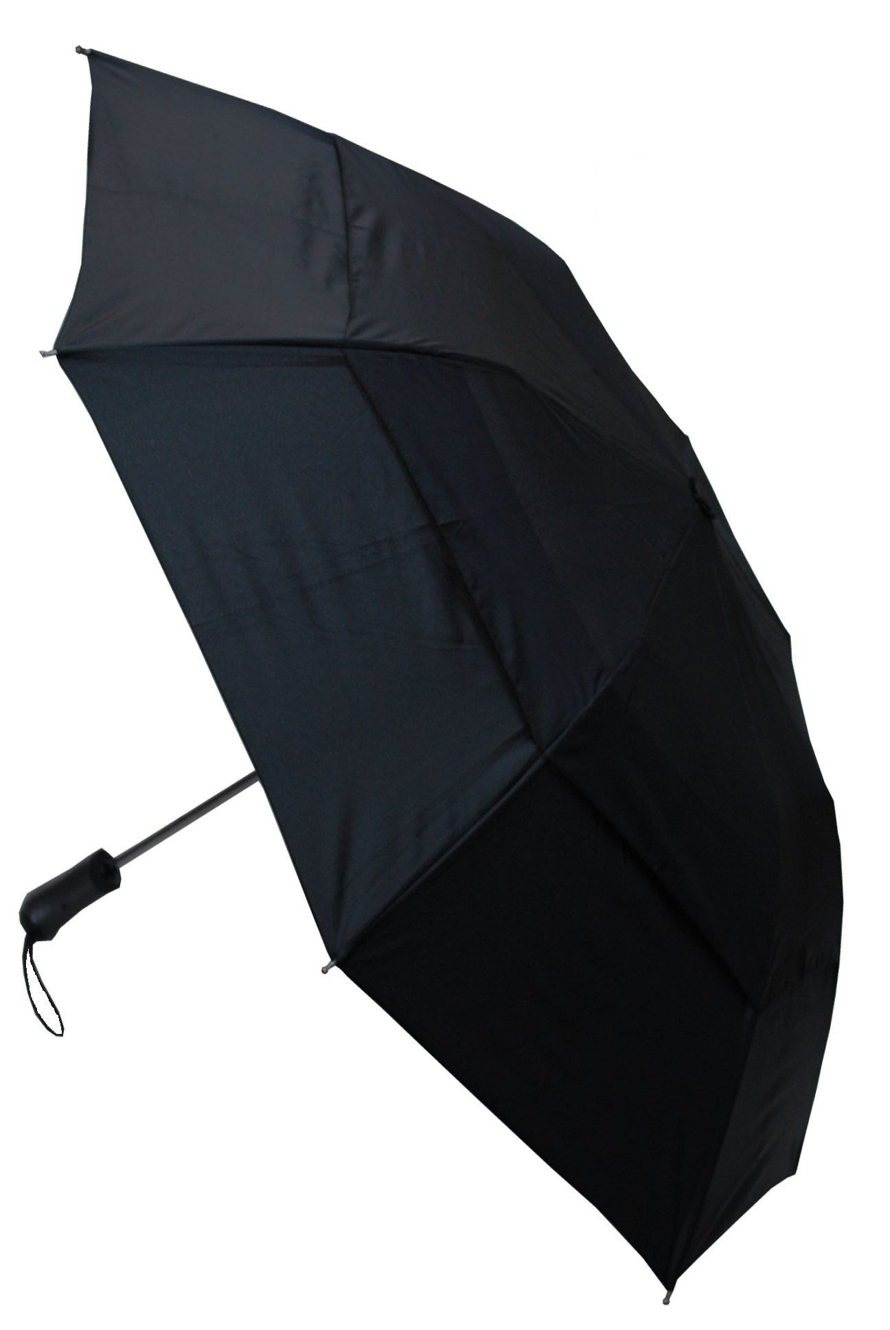 COLLAR AND CUFFS LONDON - RARE 2-Fold Windproof - 50 inch Arc - EXTRA STRONG Folding Umbrella - Vented Canopy - Auto Black