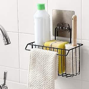ADTALA Sink Caddy Organizer Metal Iron Sponge Holder Rack Drain Rack Baket for Kitchen Brush Soap Dishwashing Liquid (Black)