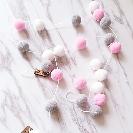 Yigo Wanddeko, 2 m, mit 30 x Filzkugeln, Deko fürs Kinderzimmer,  handgefertigt, zum Aufhängen, Girlande, White+pink+Gray, Free Size