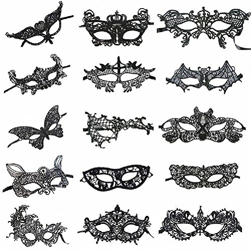 Mohary Women's Sexy Venetian Style Black Lace Masquerade Halloween Party Masks Pack of 15 - Costumes Ideas For Black Women